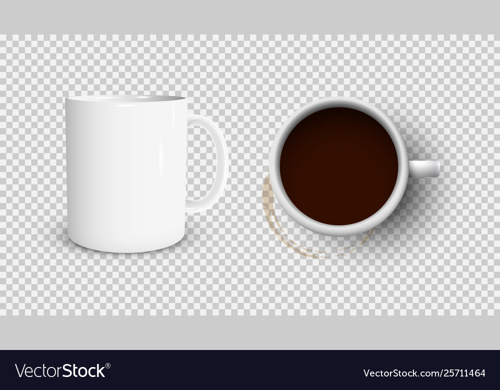 White coffee cup and white cup view from top