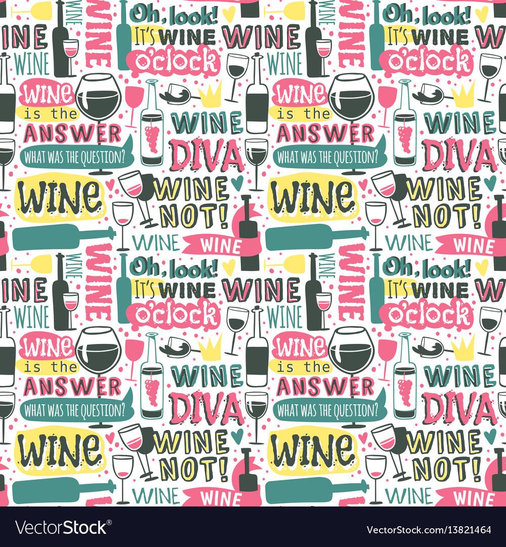 Wine hand drawn logo badge seamless patterns