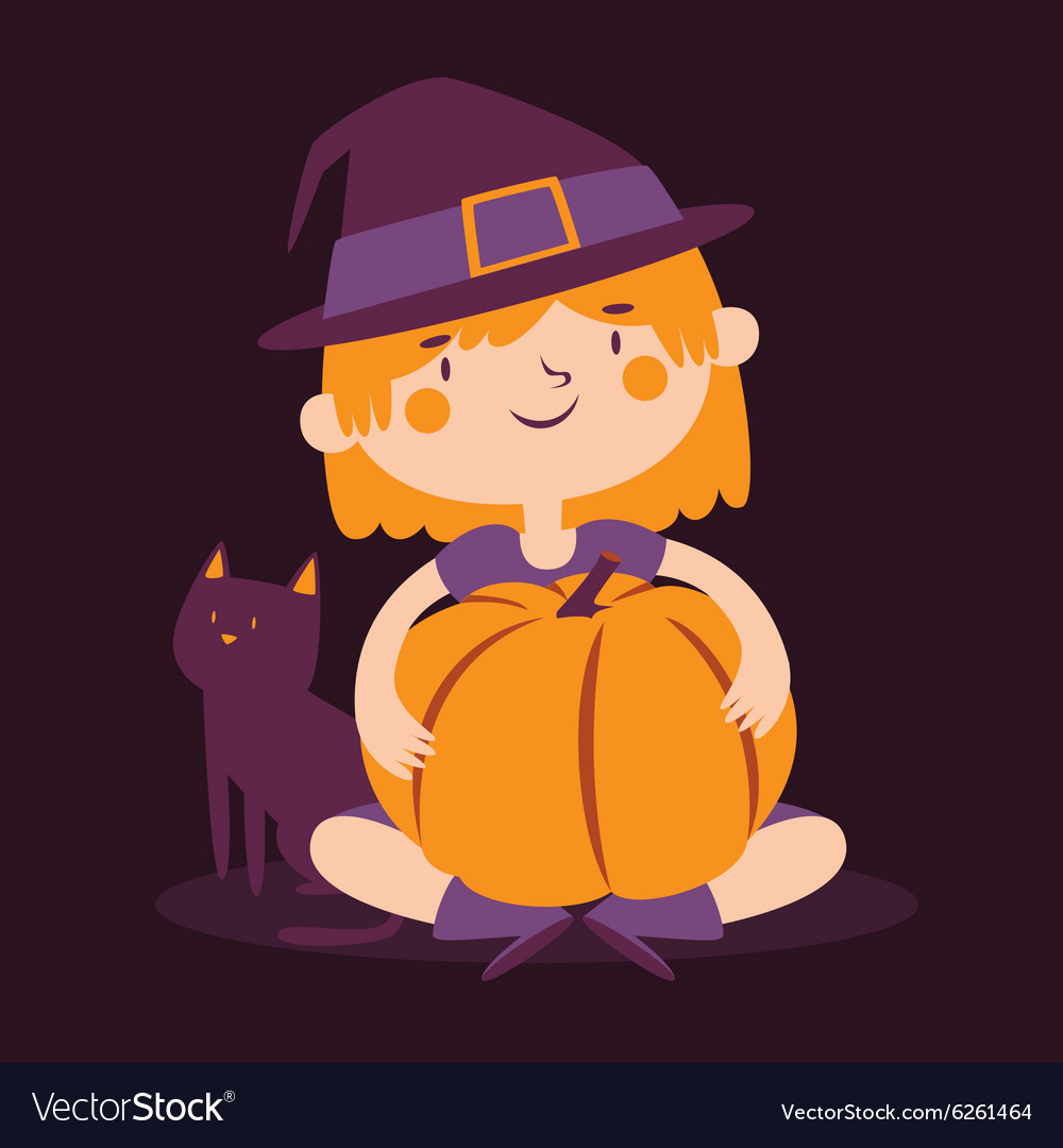 Witch Girl Holding a Pumpkin Next to her Cat