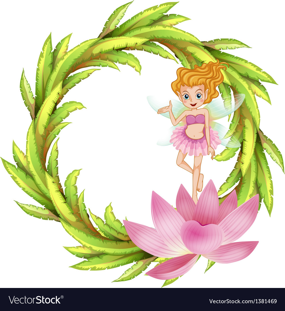 A round border design with a fairy in a pink dress