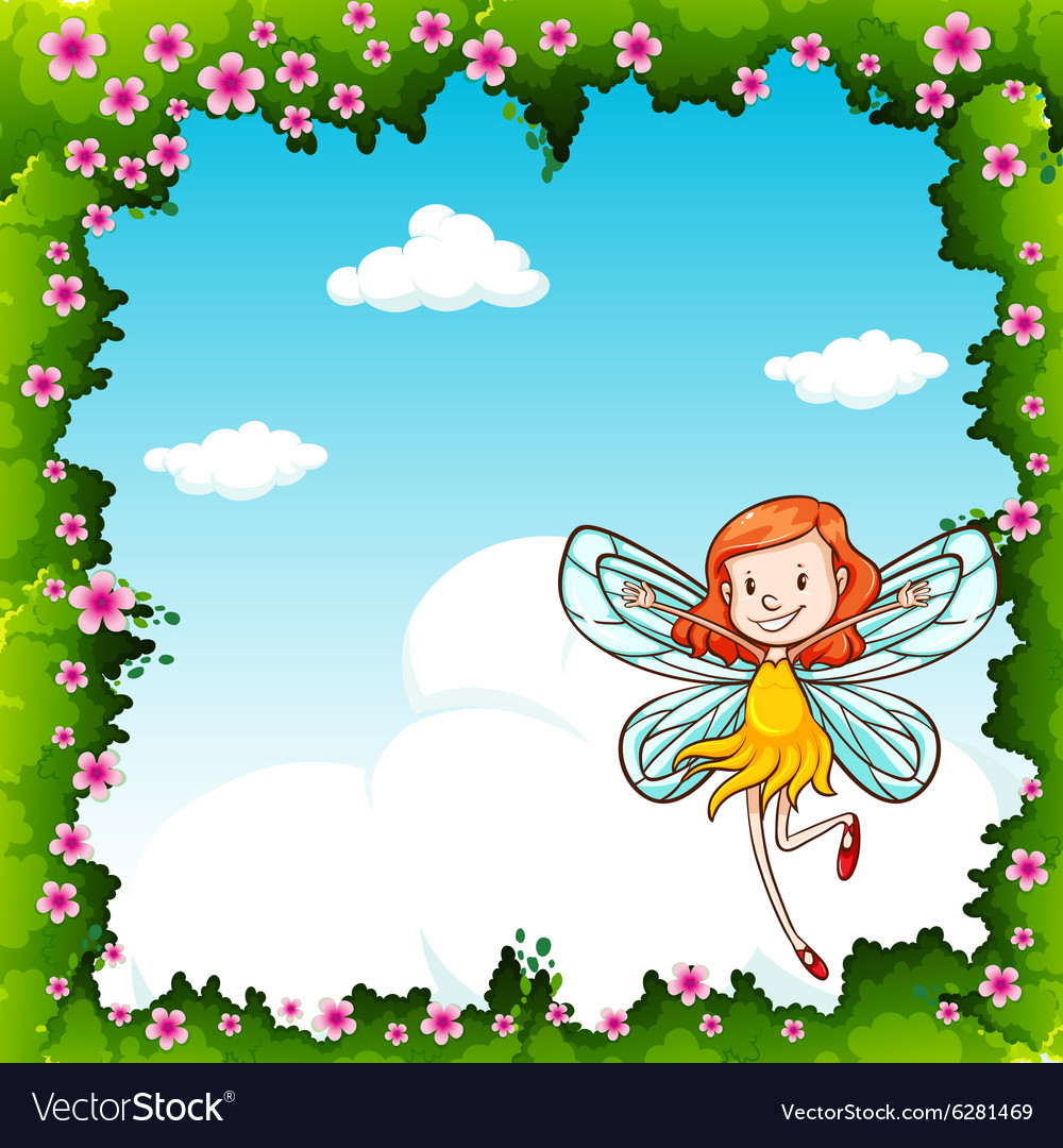 Border Design With Fairy Flying In The Sky