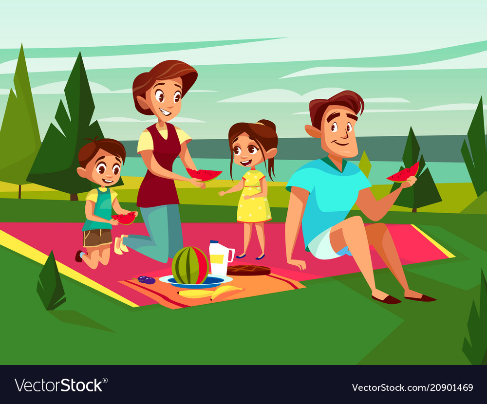 Cartoon caucasian family at picnic party Vector Image