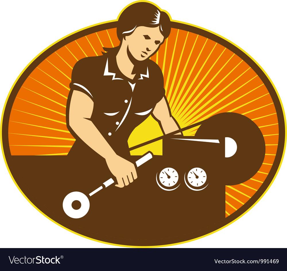 Female Machinist Worker Lathe Machine vector image