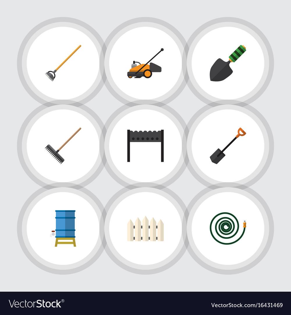 Flat icon dacha set of barbecue lawn mower tool