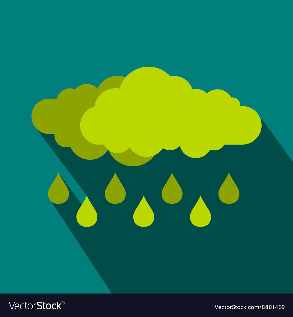 Green cloud with rain drop icon flat style