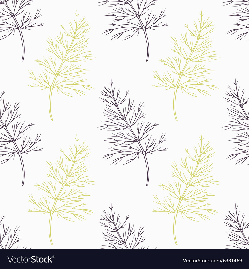 Hand drawn dill branch stylized black and green
