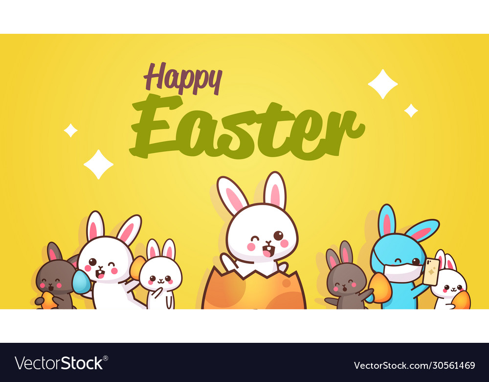 Happy easter greeting card with rabbits hand