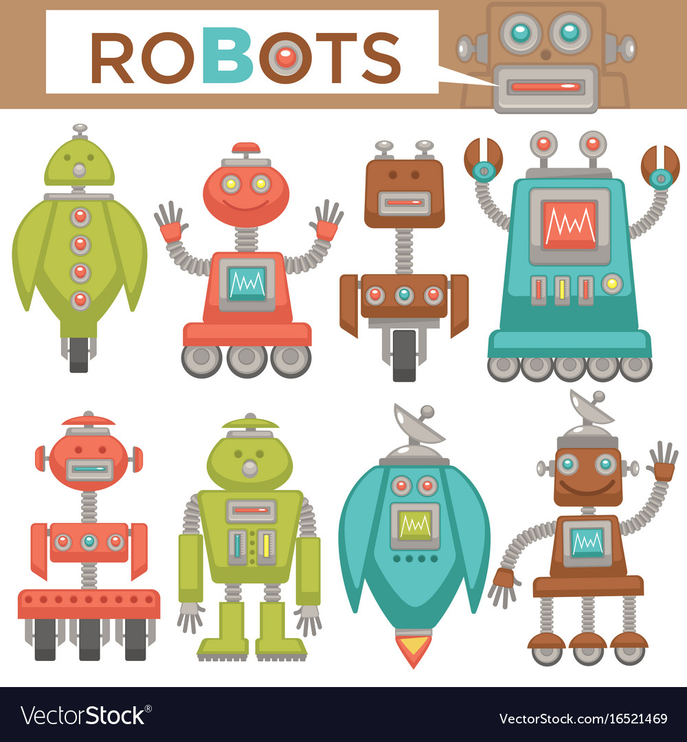 Robots and transformers retro cartoon toys flat vector image