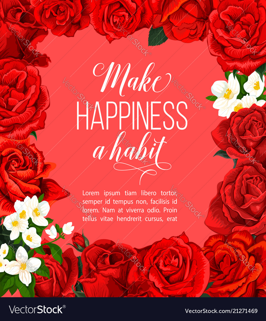 Rose flower frame border for floral greeting card