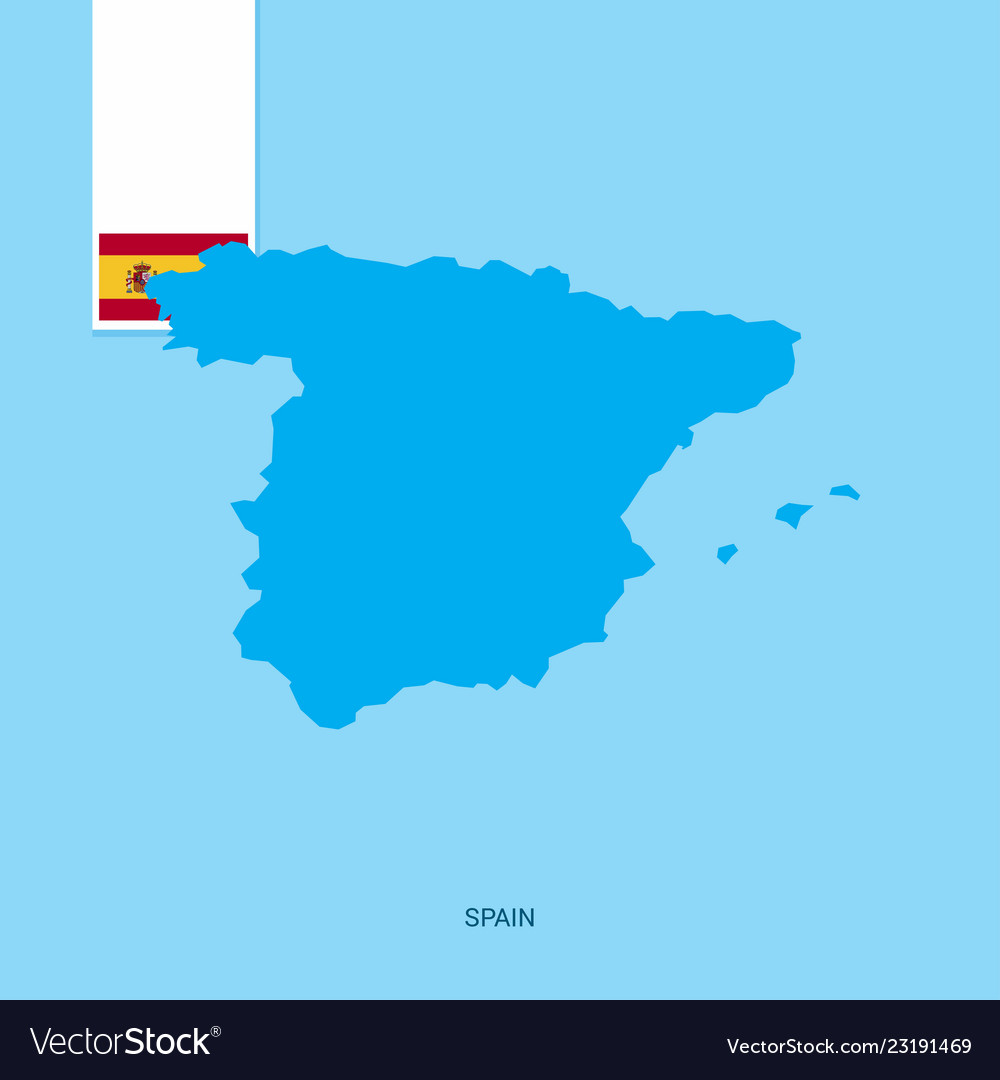 Country Of Spain Map.Spain Country Map With Flag Over Blue Background Vector Image