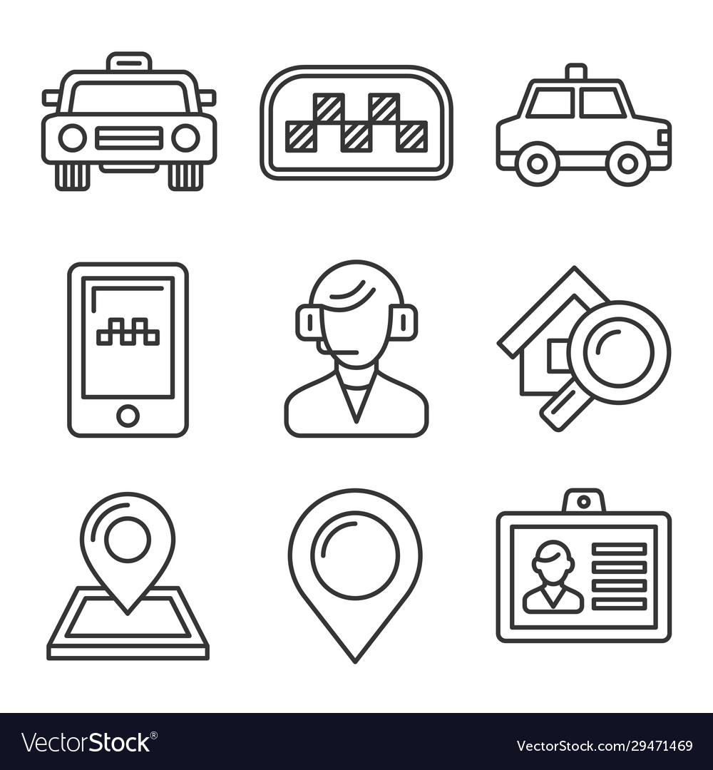 Taxi icons set on white background line style