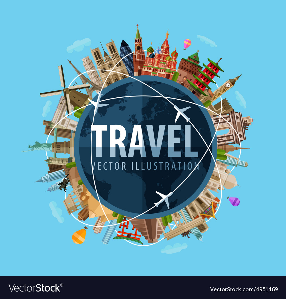 Travel Journey Logo Design Template World Vector Image