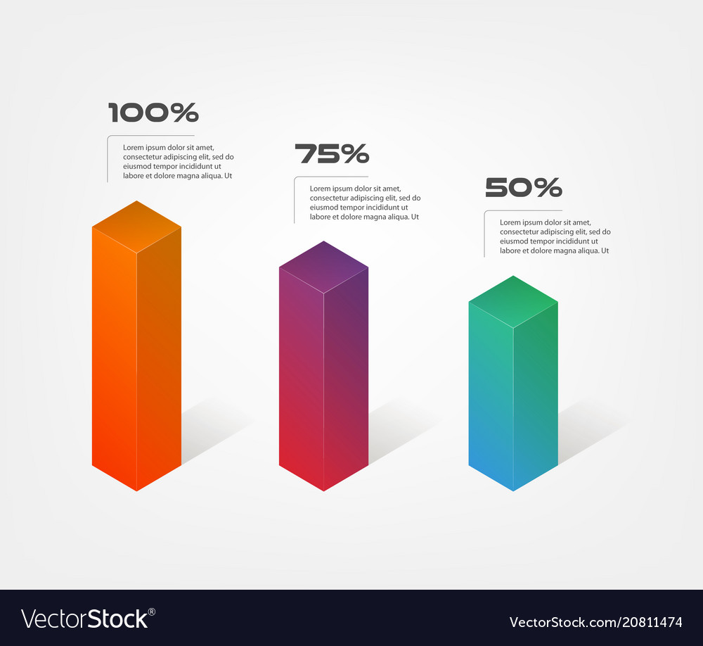 3d blocks infographics step by step element of