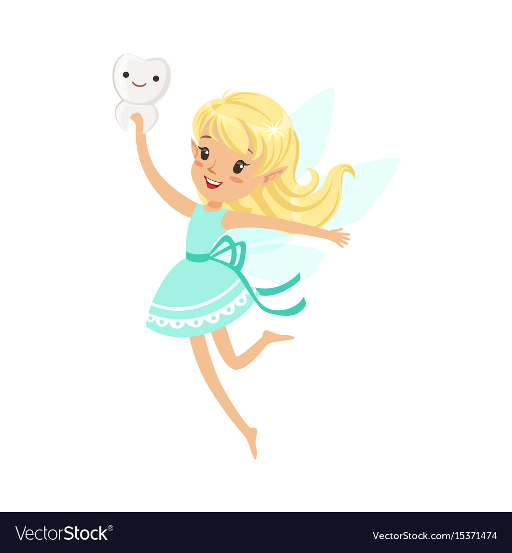 Beautiful sweet blonde tooth fairy girl flying and