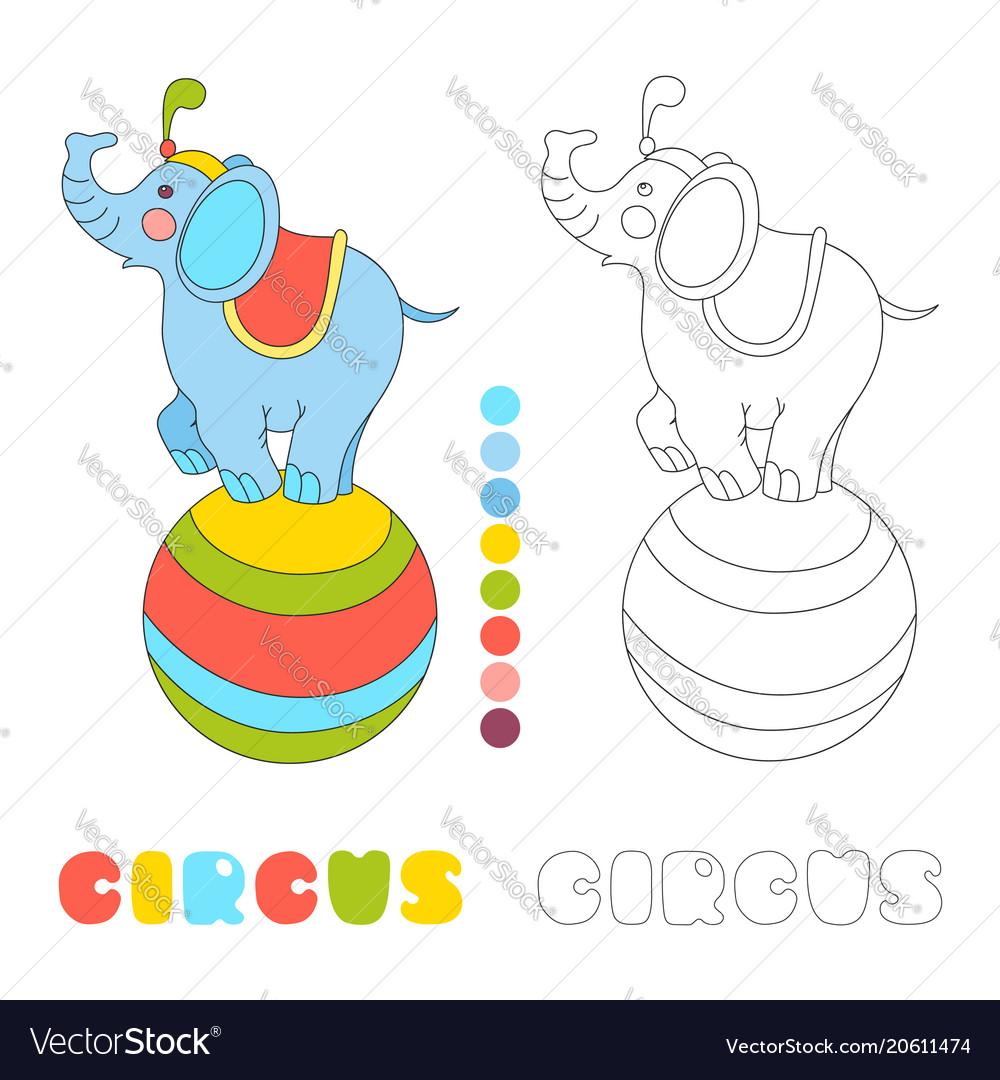 Circus elephant on the big ball i coloring book