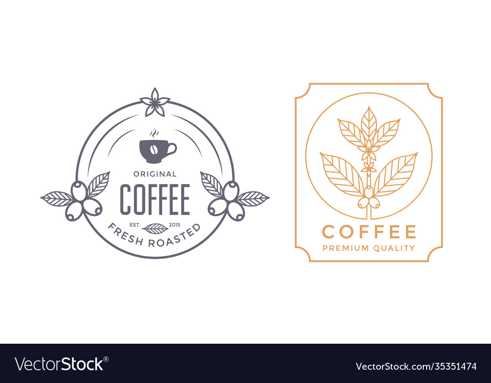 Coffee house labels design with coffee branch