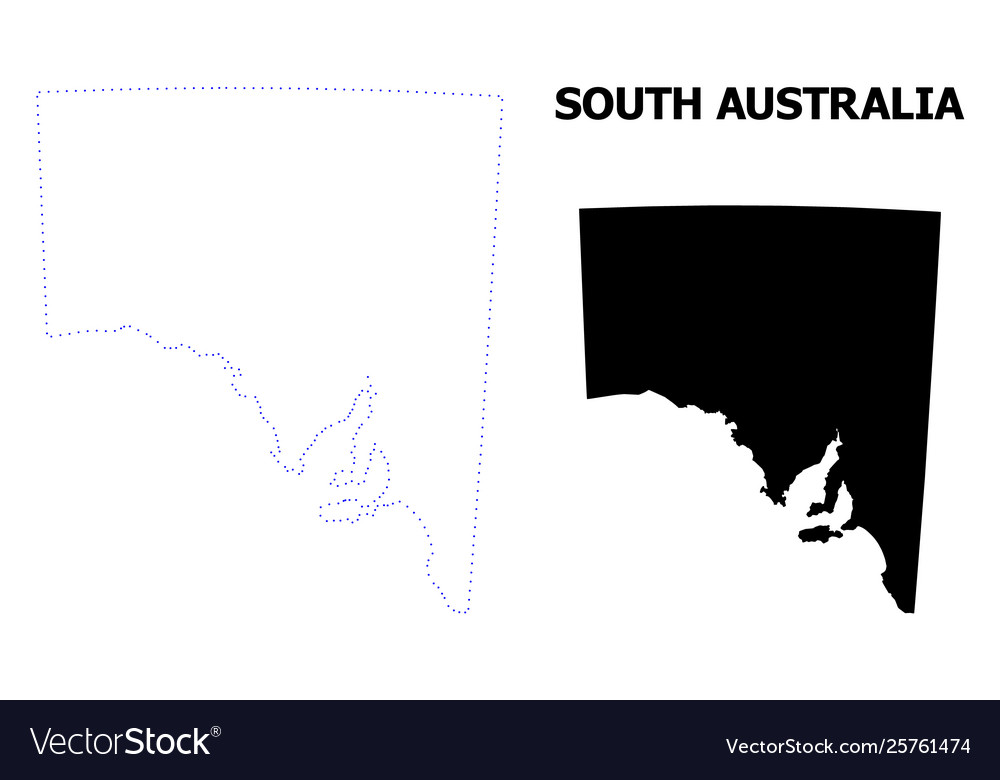 South Australia Map Outline.Contour Dotted Map South Australia With
