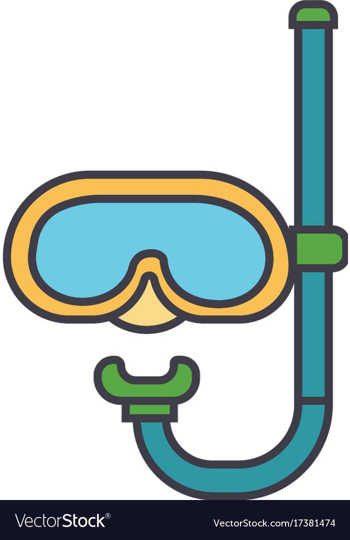 Diving mask flat line concept