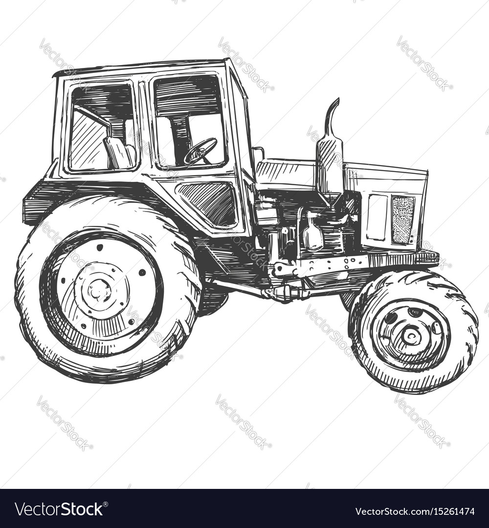 Farm tractor hand drawn vector image