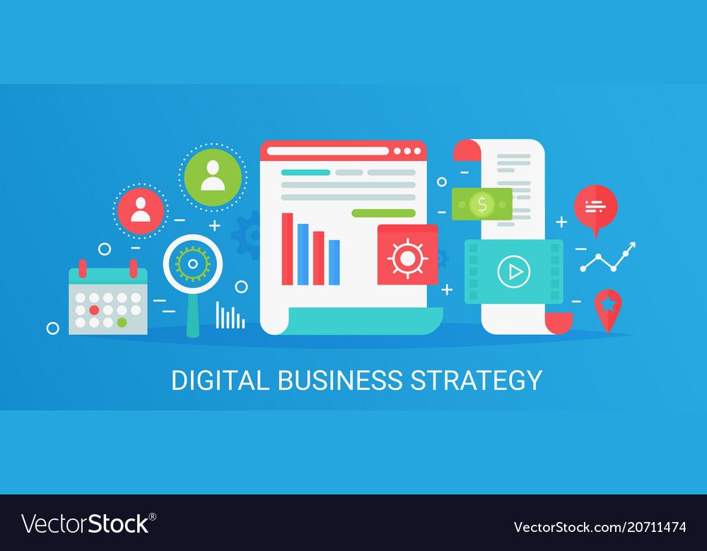 Flat modern concept digital business