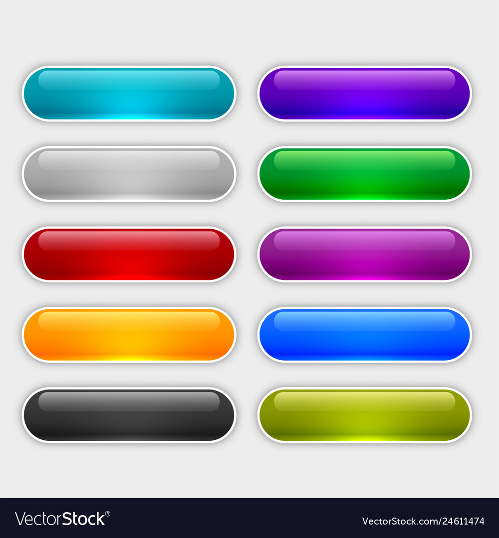 Glossy web buttons set in different colors
