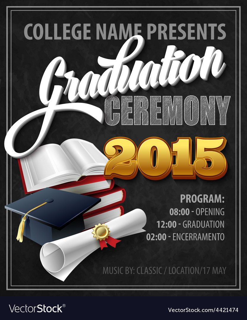 Graduation Ceremony Poster template Royalty Free Vector