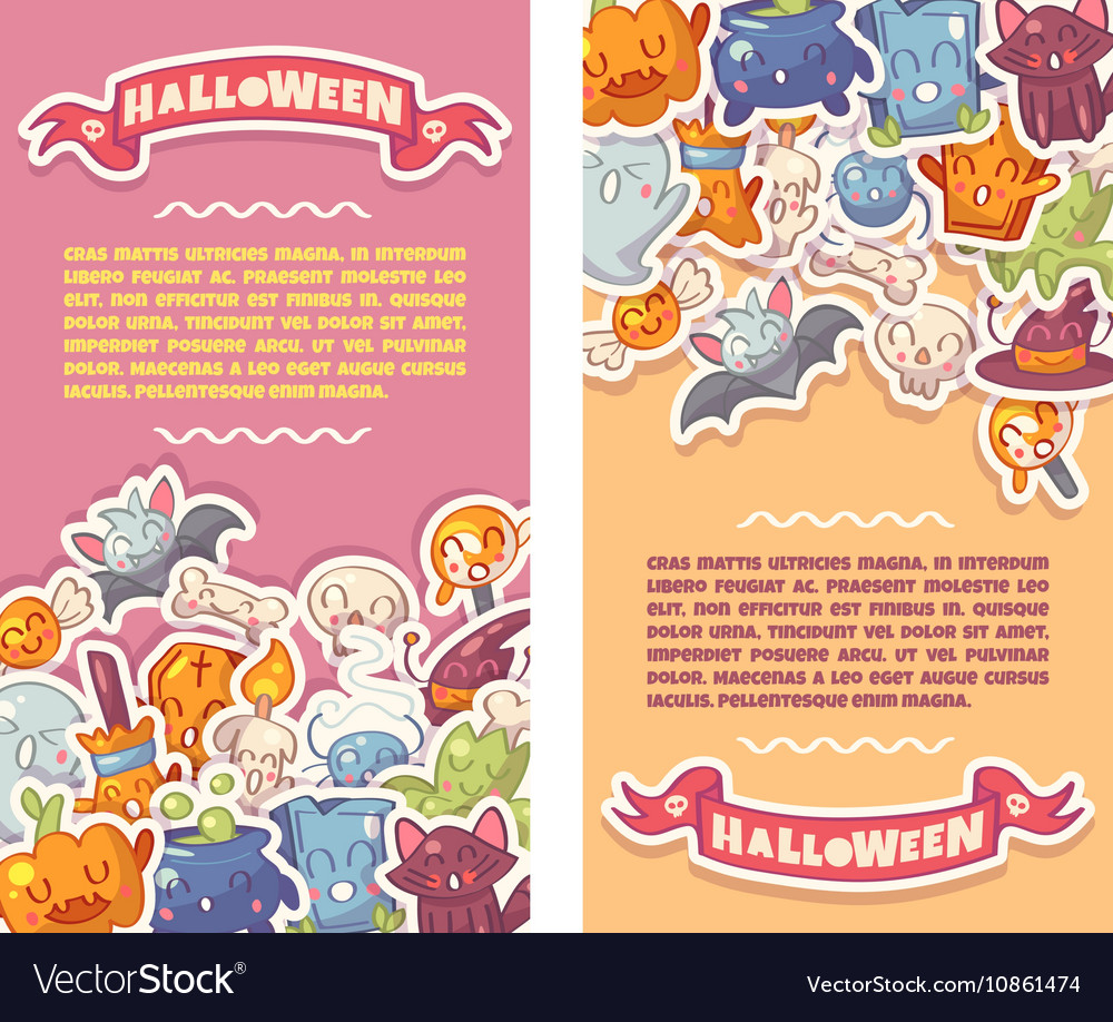 Halloween banners set with cute characters vector image