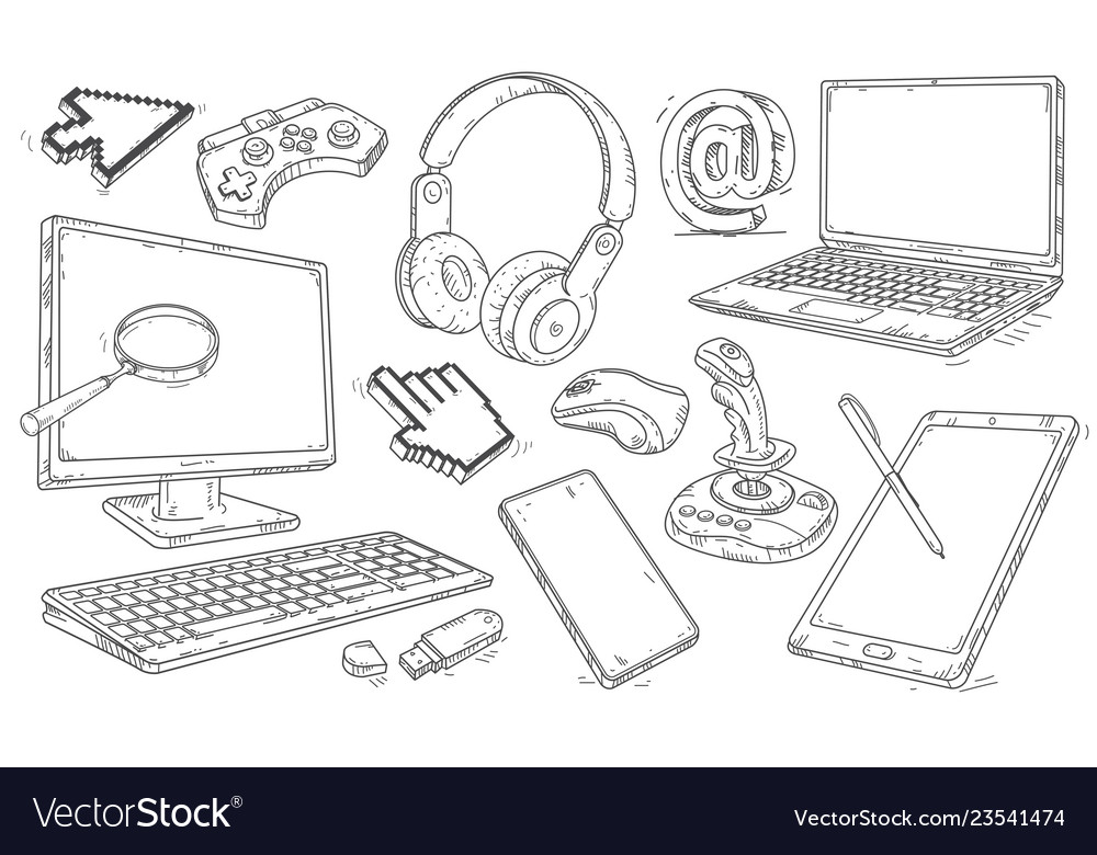 Hand drawn set of devices and workplace elements