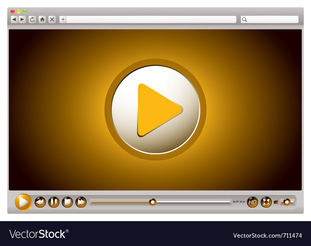 Internet browsers video controls vector image