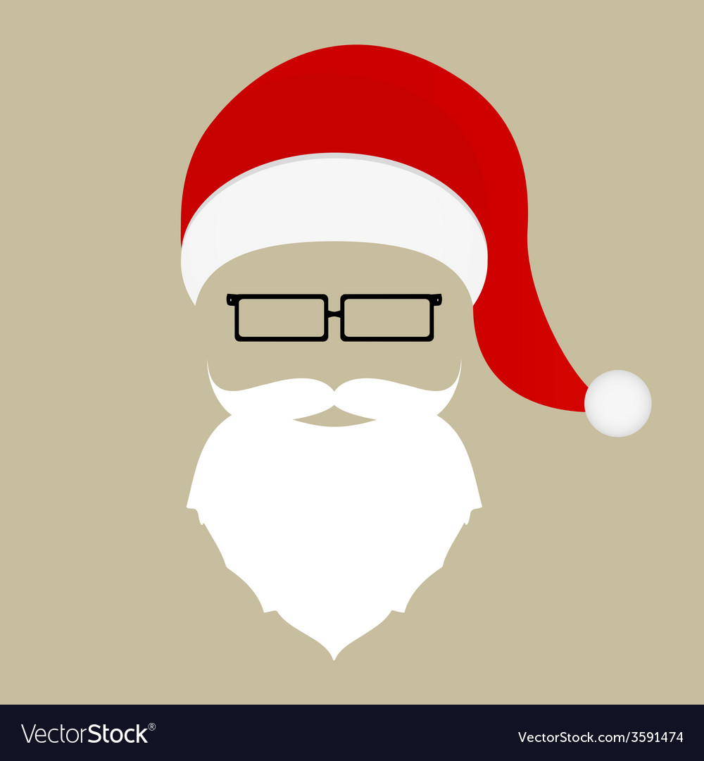 4822a92b7b2 Santa hat mustache beard and glasses Royalty Free Vector
