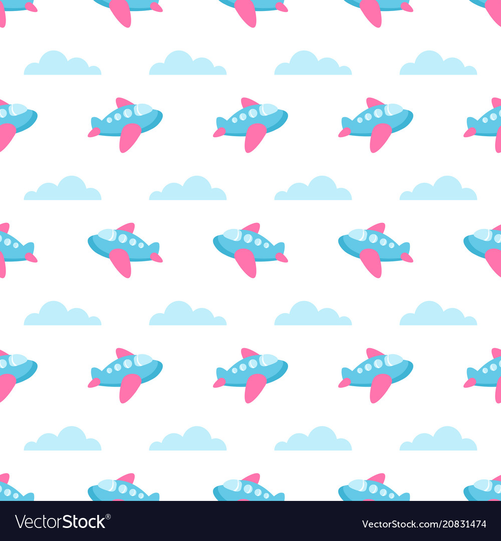 Seamless pattern with planes and clouds