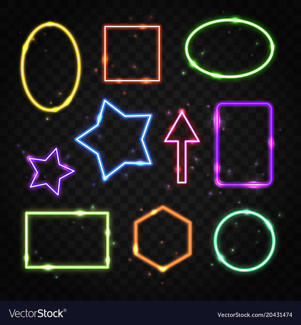 Set of colorful neon frames with space for text