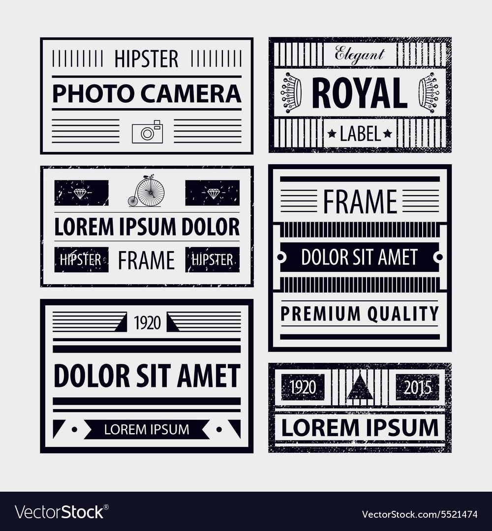Set of modern hipster frames labels vector image