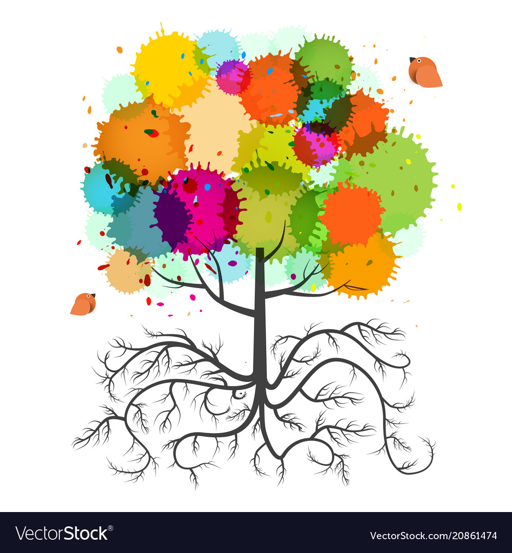 Spring tree with roots and colorful splashes and