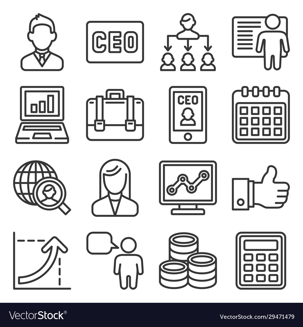 Ceo and business management icons set line style