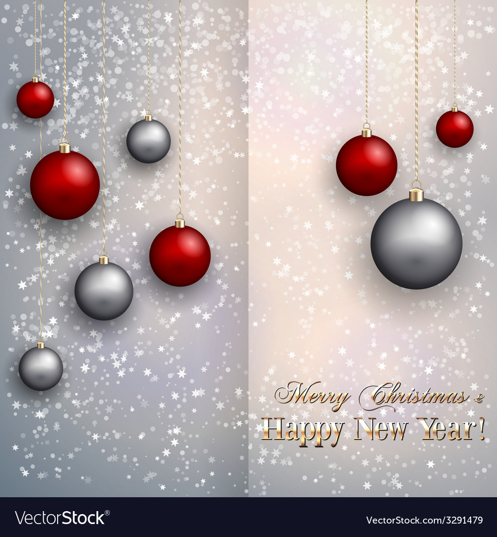 Christmas greeting card with balls on snow