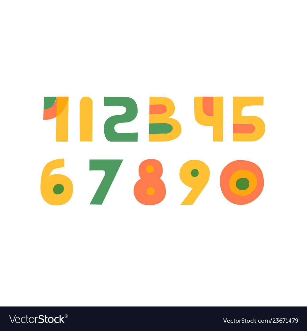 Cute colorful handdrawn numbers set