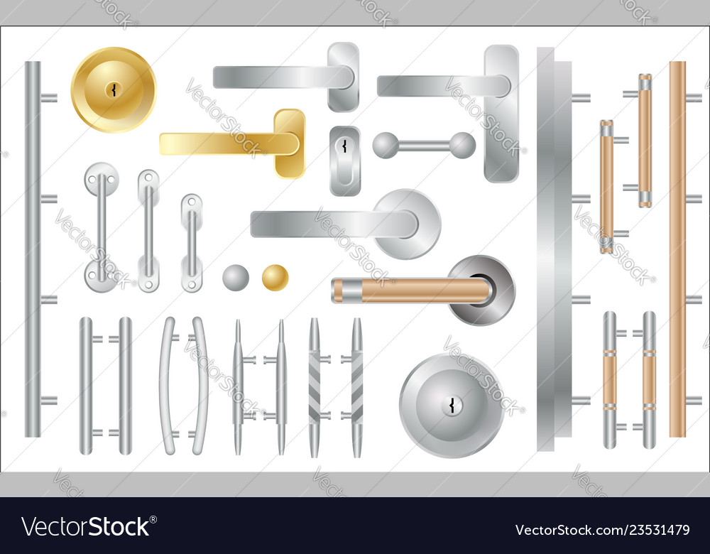 Door handles set isolated on white window and