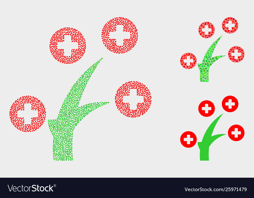 Dotted medical tree icons