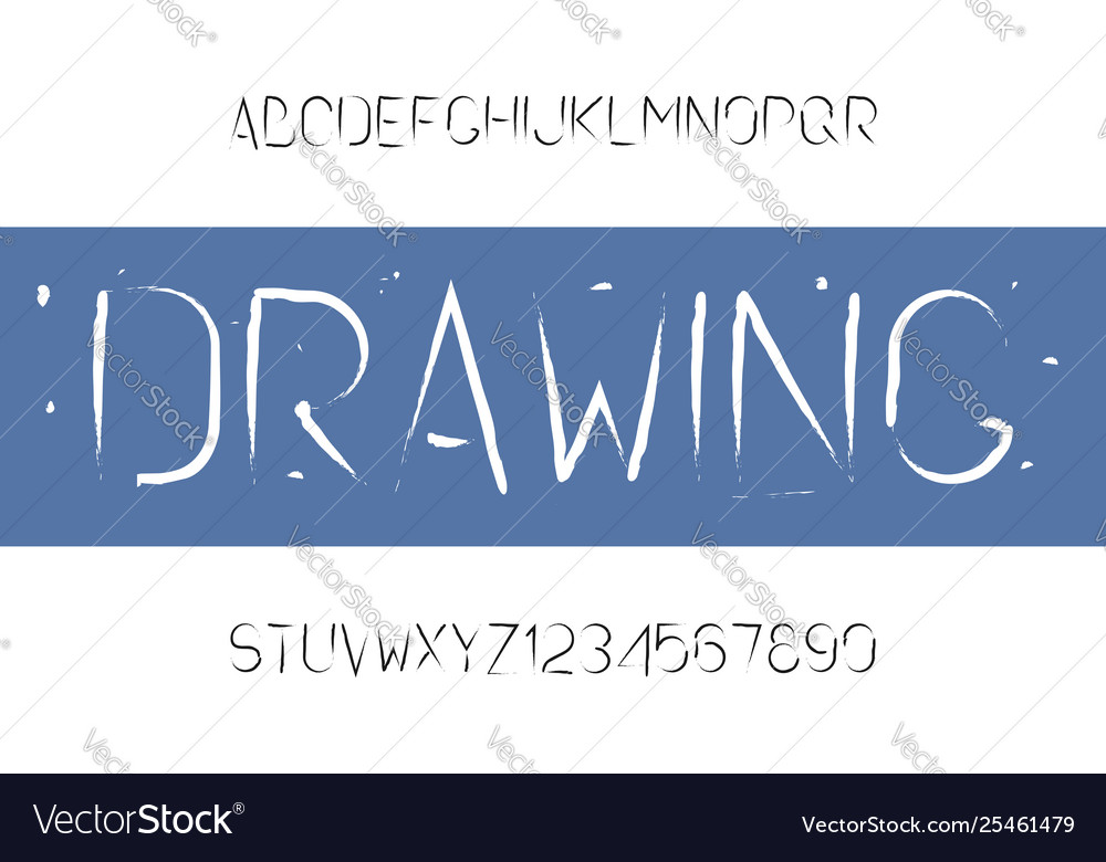 Drawing brush font paintbrush alphabet typeface