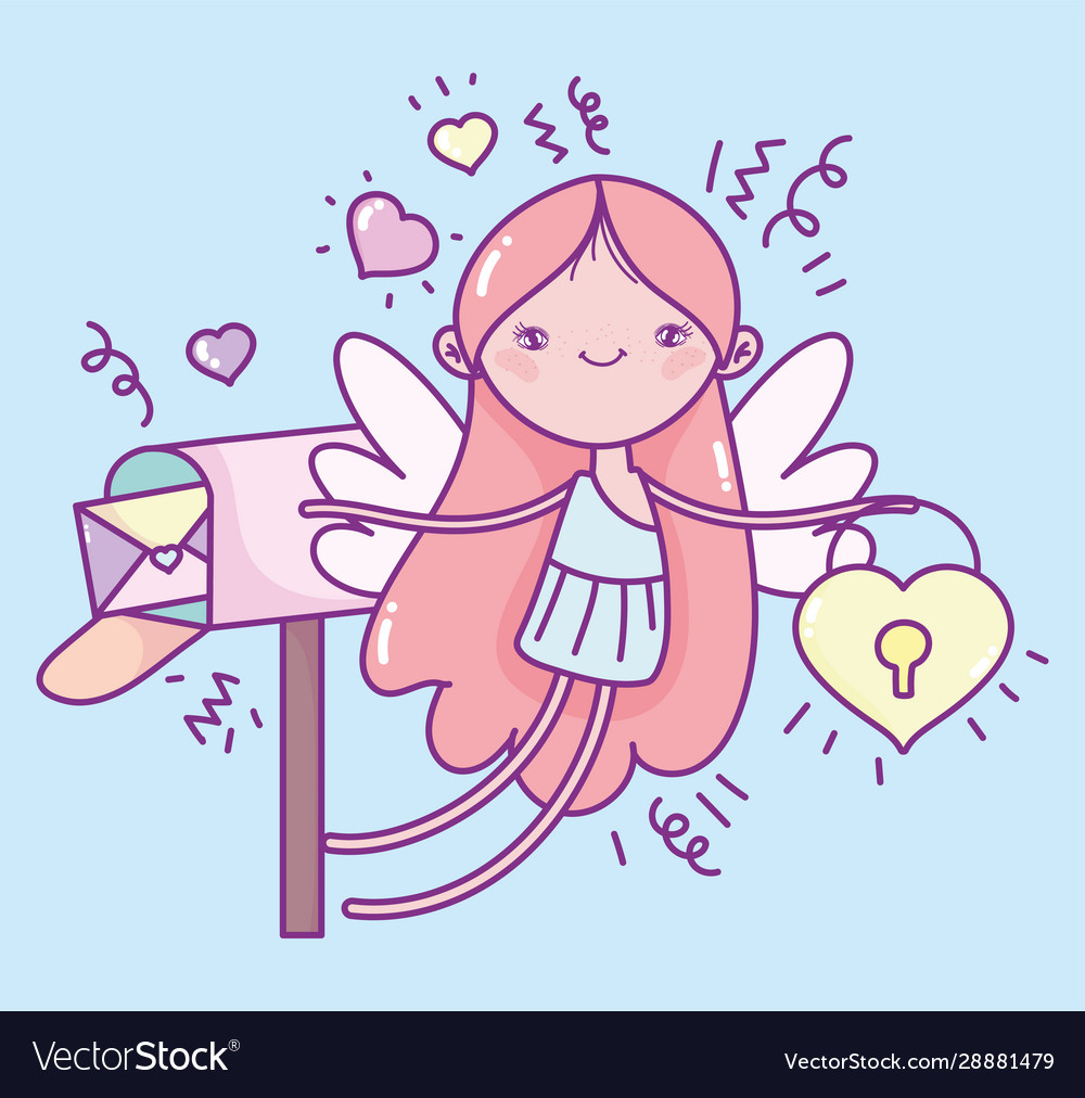 Happy valentines day cute cupid with padlock and