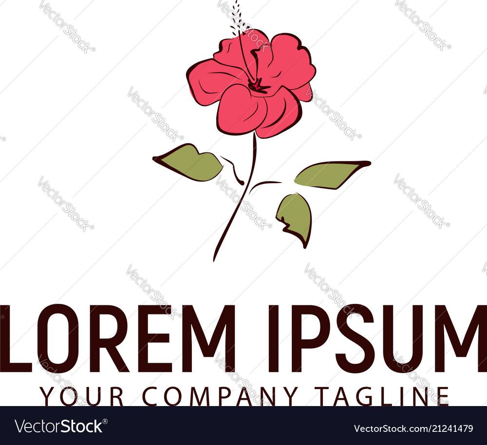 Hibicus flower hand drawn logo design concept