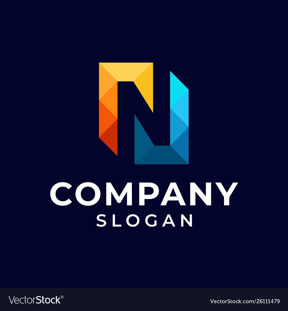 Initial letter n pixel logo design