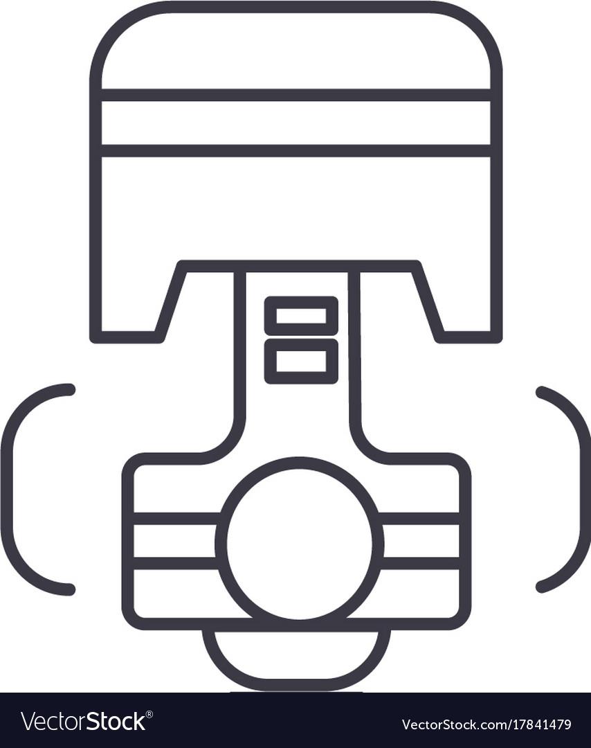 Repair car engine piston line icon sign