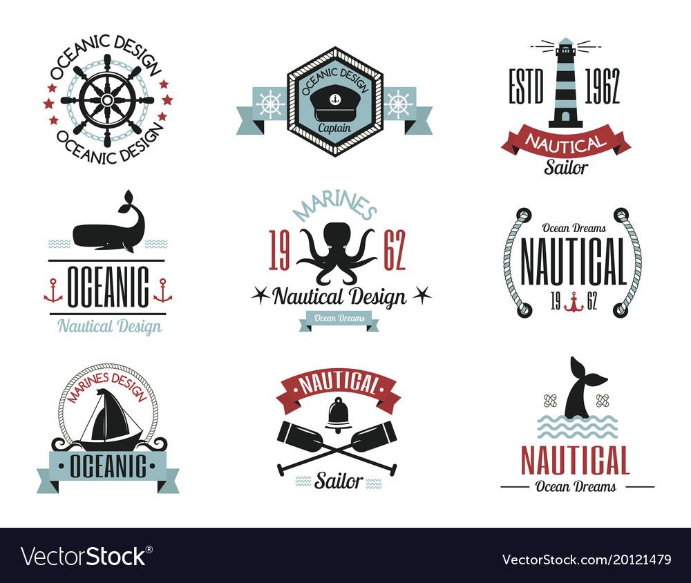 Sea marine nautical logo icons sailing