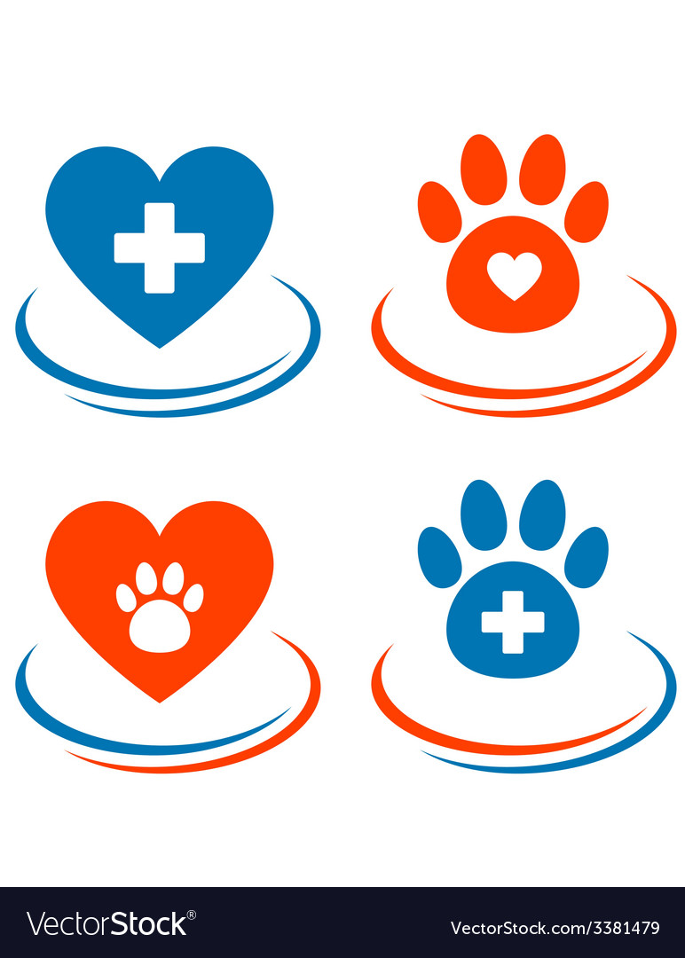 Set Of Veterinary Symbols Heart Cross And Paw Vector Image