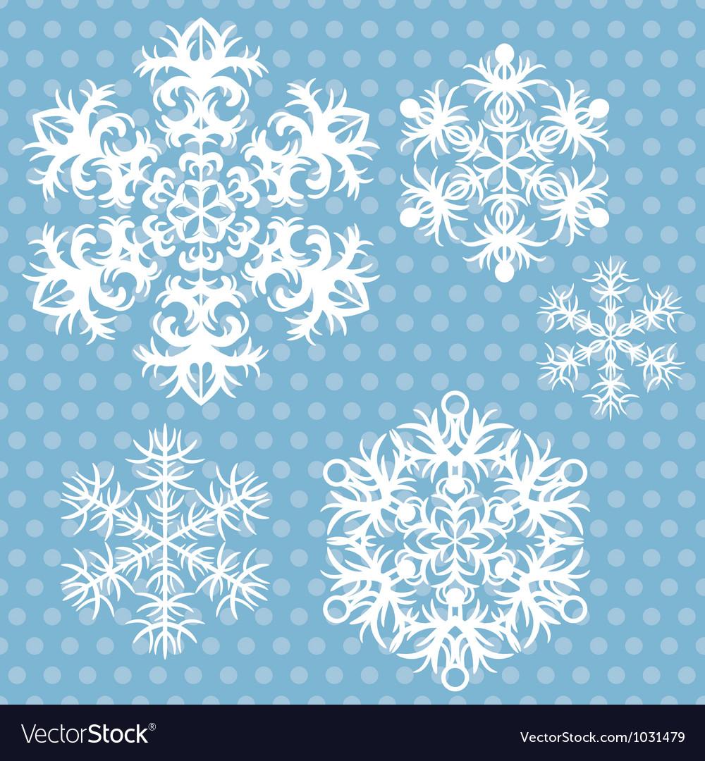 Snowflakes set on blue retro background