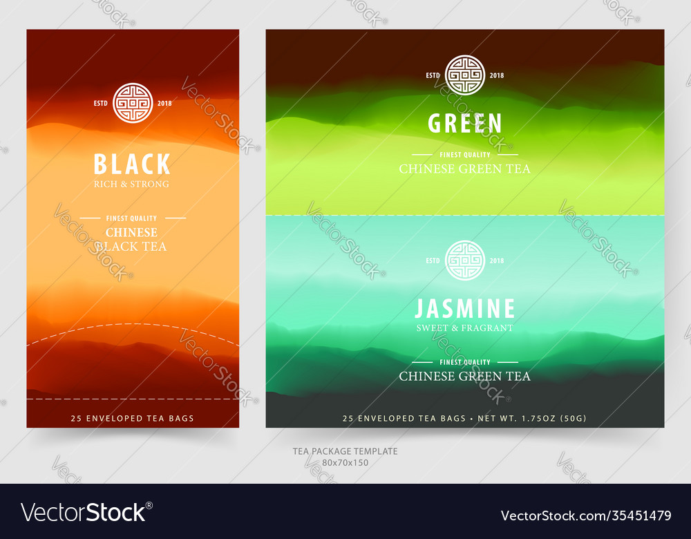 Tea package design template with natural landscape