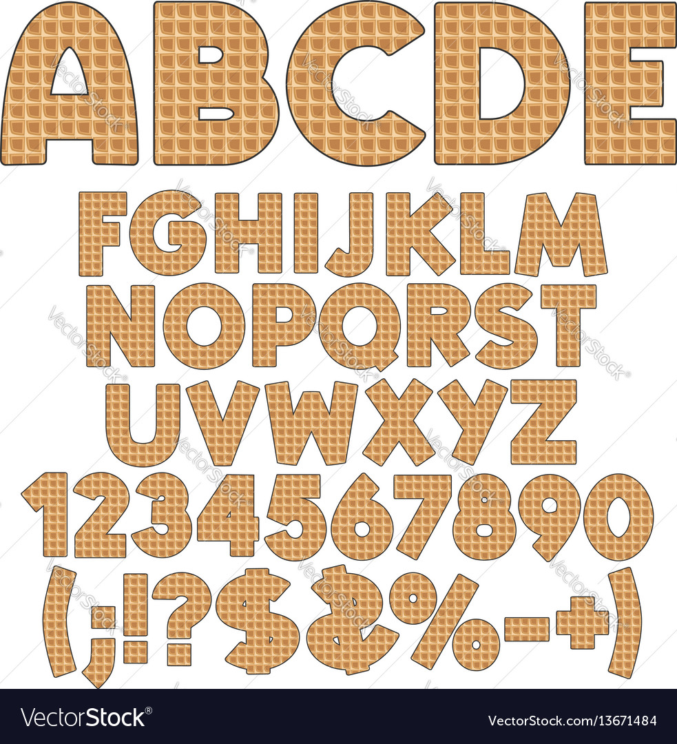 Alphabet numbers and signs from wafers