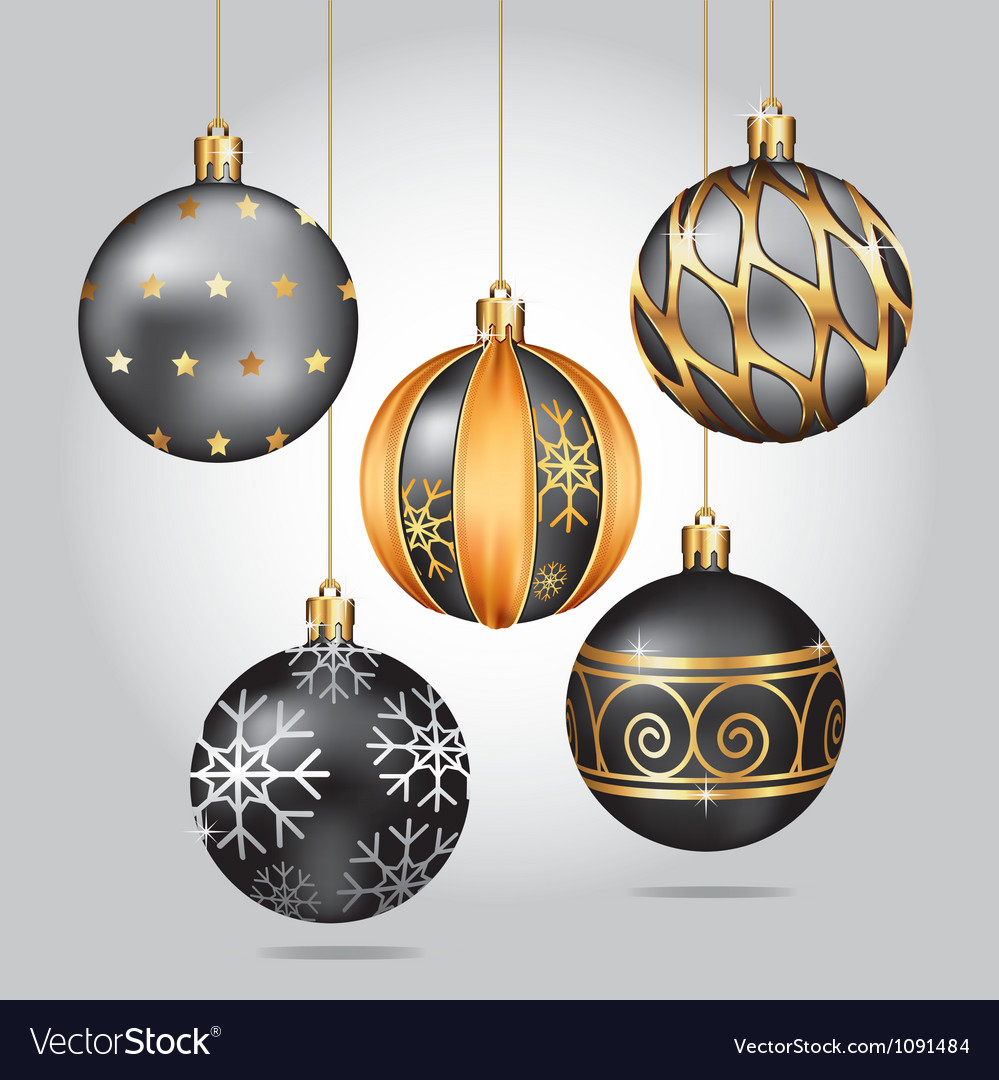 black christmas ornaments hanging on gold thread vector image